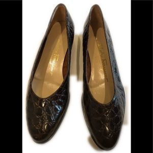 Vintage faux croc Salvatore Ferragamo 7.5 Shoes